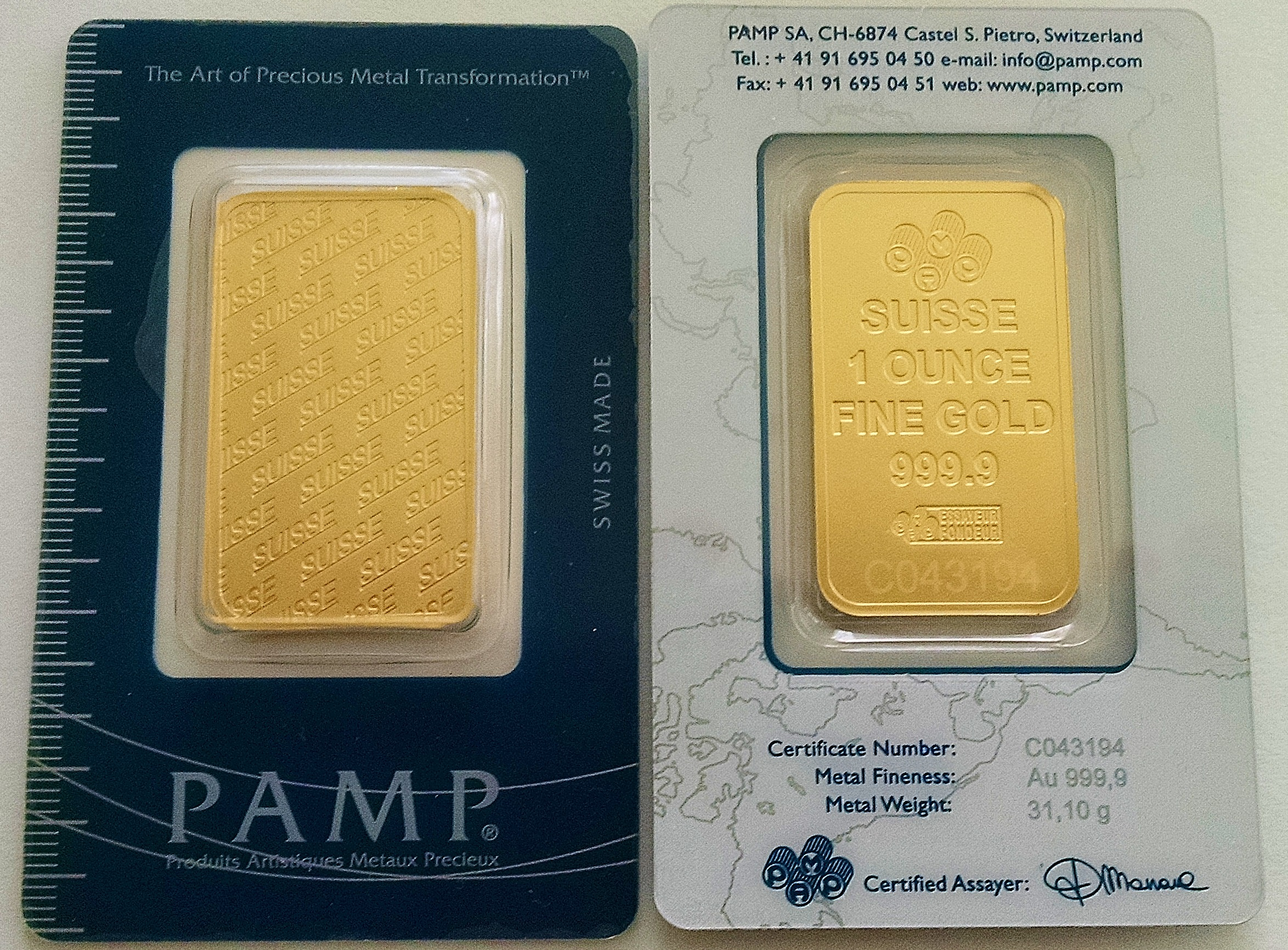 1 oz gold bar pamp suisse new design in assay card hw minting