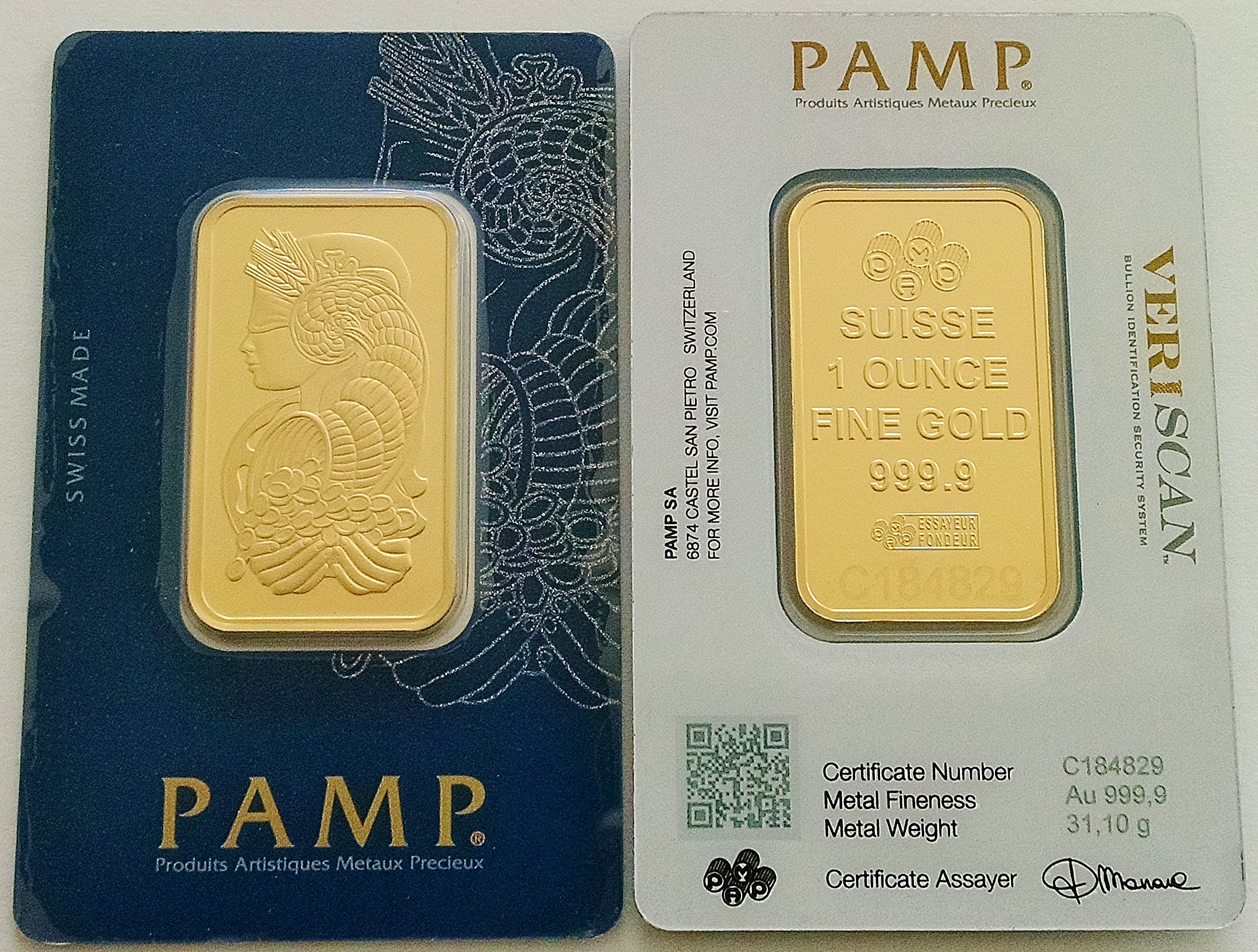 1 Oz Gold Bar Pamp Suisse Lady Fortuna Veriscan In Assay