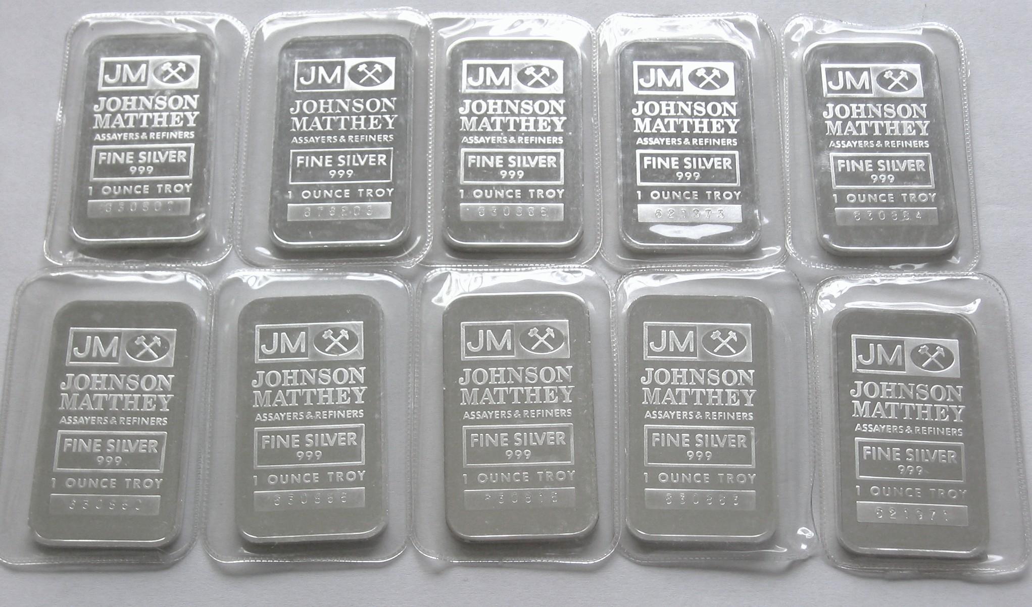 1 Ounce Johnson Matthey 999 Fine Silver Bullion Bar