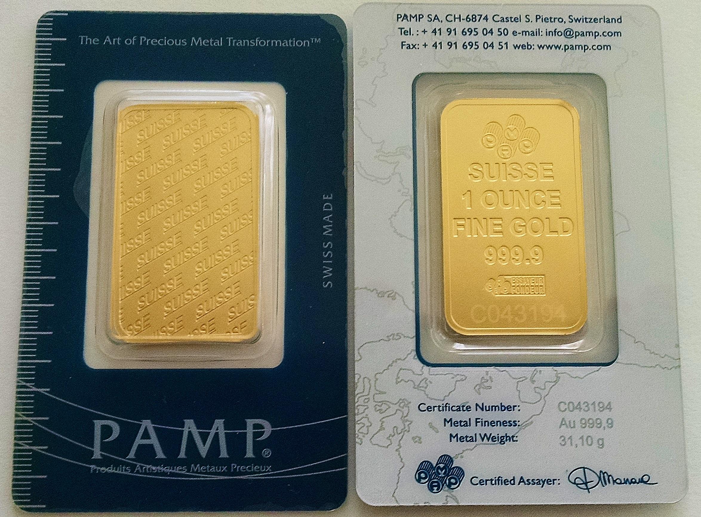 1 Oz Gold Bar Pamp Suisse New Design